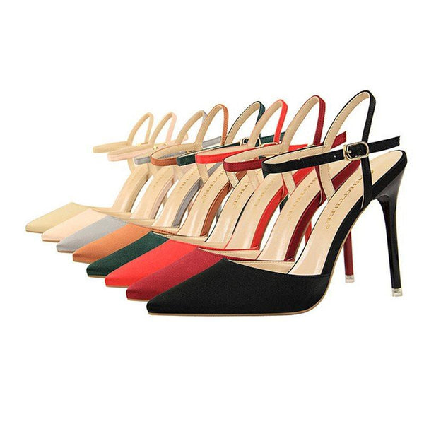 Buckle Pointed Toe Ankle Strap Stiletto Heel Casual Plain Sandals