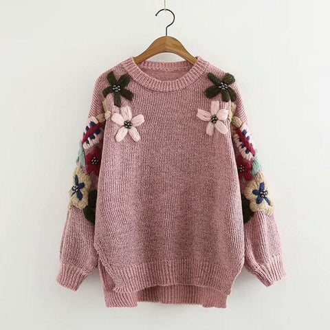 Flower Embroidery Round Neck Pullover Sweater