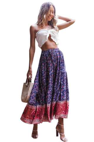 Stylish Floral Summer Maxi Skirt with Elastic Waist