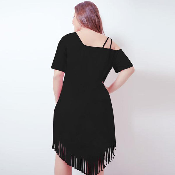 Plus-Size Sloping Shoulder Short Sleeve Irregular Tassel Mini Dress