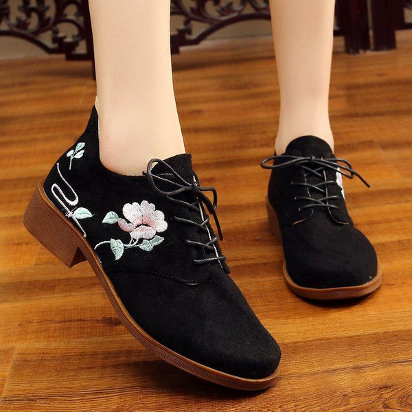 Women Floral Embroidered Loafers Casual Comfort Shoes