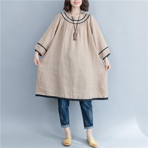 Plus-Size Loose Solid Color Splicing Dress
