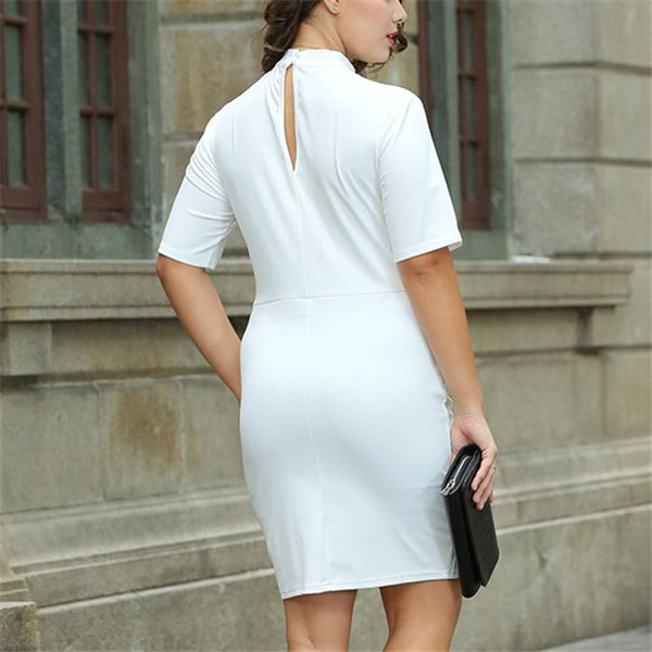 Plus-size sexy hollow out short sleeve knit dress