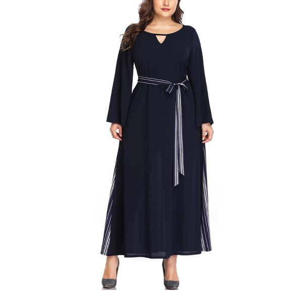 Plus-Size Pure Color Sexy Round Neck Long Sleeves Dress