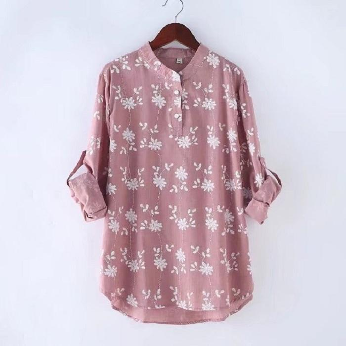 Loose And Slim Sleeveable Printed Long-Sleeved Shirt