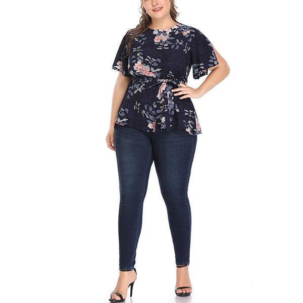 Plus-size sexy printed short sleeves shirt