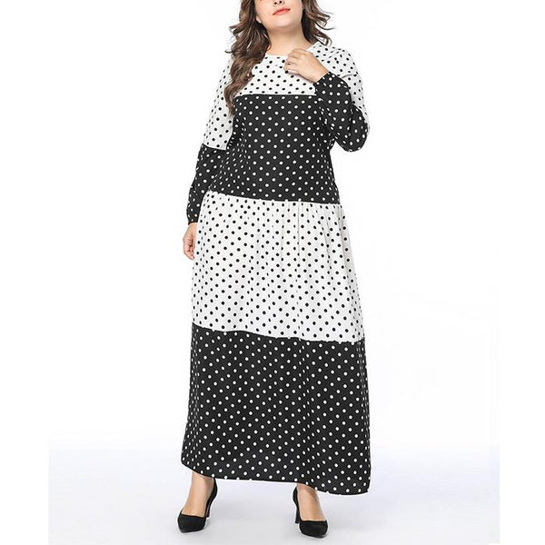 Fashion Wave Point Splicing Casual Long Sleeve Dress