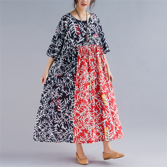 Plus-Size Retro Loose Round Collar Long Sleeves Splicing Printing Dress