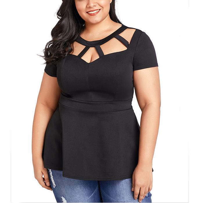 Plus-size pure color round collar short sleeves T-shirt