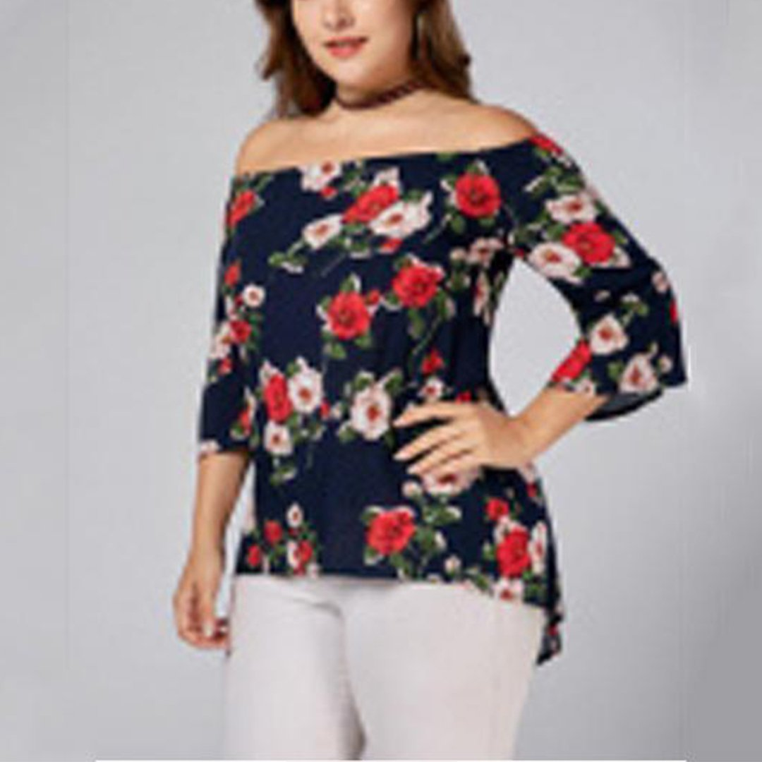 Women Casual Floral Printed Blouse Plus Size Tops