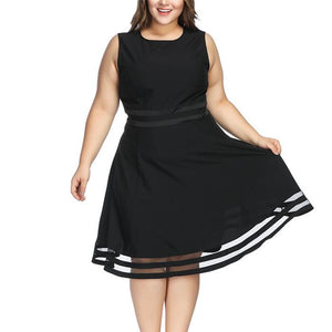 Plus-Size Pure Color Round Collar Sleeveless Perspective Dress