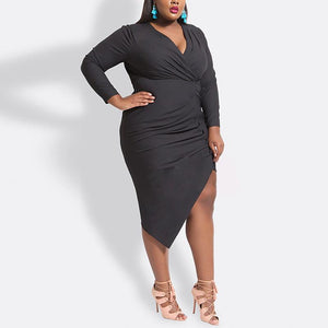 Plus-Size Fashion V-Neck Solid Color Sexy Dress