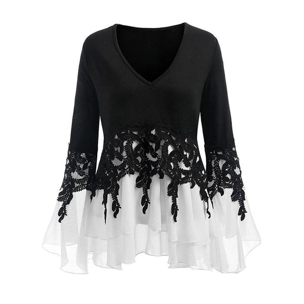 V-collar splicing large size lace long sleeve T-shirt