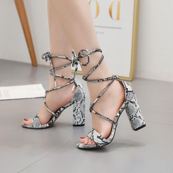 Lace-Up Chunky Heel Open Toe Heel Covering Color Block Sexy Sandals