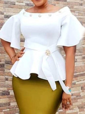 Off Shoulder Flare Sleeve Plain Half Sleeve Standard Blouse