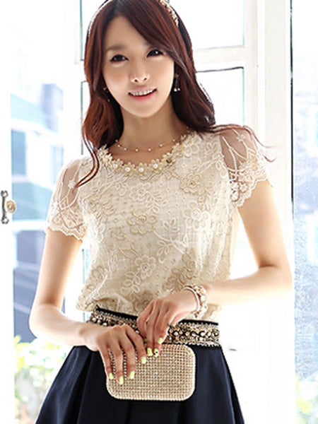 Lace Round Neck Standard Short Sleeve Blouse