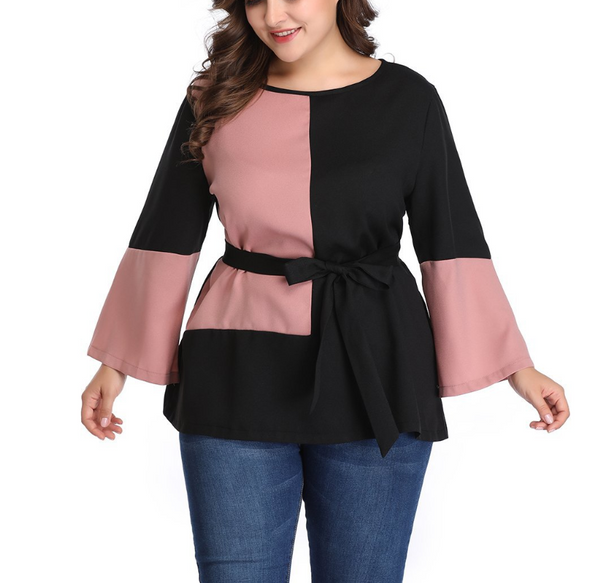 Plus-Size Round Collar Long Sleeves Contrast Color Splicing Dress