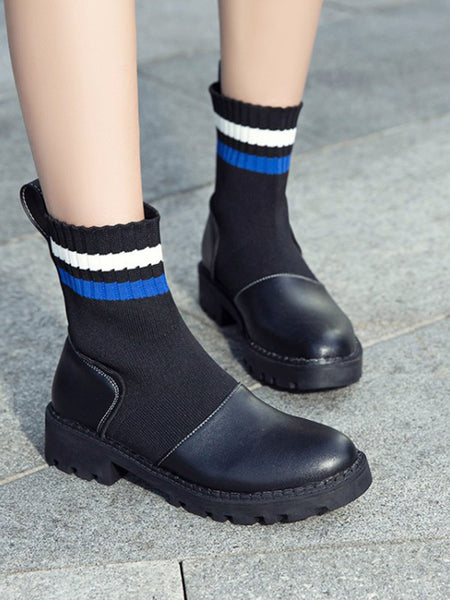 New Style Fall And Winter Chunky Heel Knit Mid-Calf Boots
