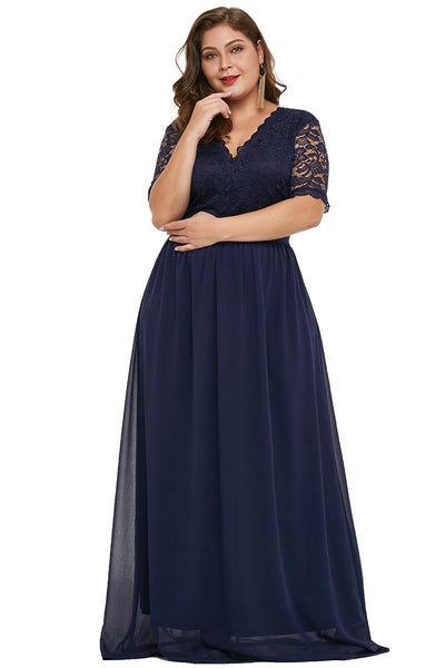 Blue Plus Size Chiffon Evening Party Maxi Dresses