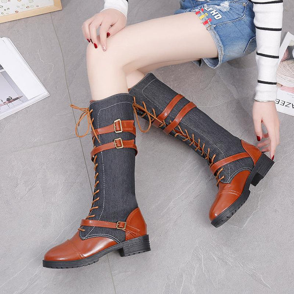 Lace Up Buckle Casual Low Heel Paneled Boots