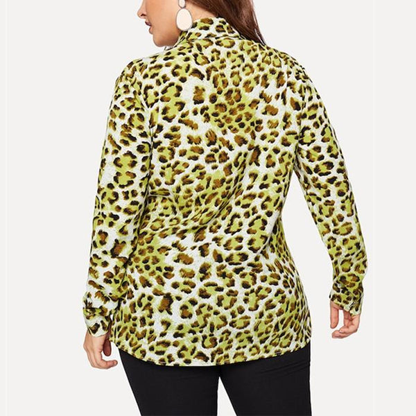 Plus-size long sleeves sexy leopard print shirt