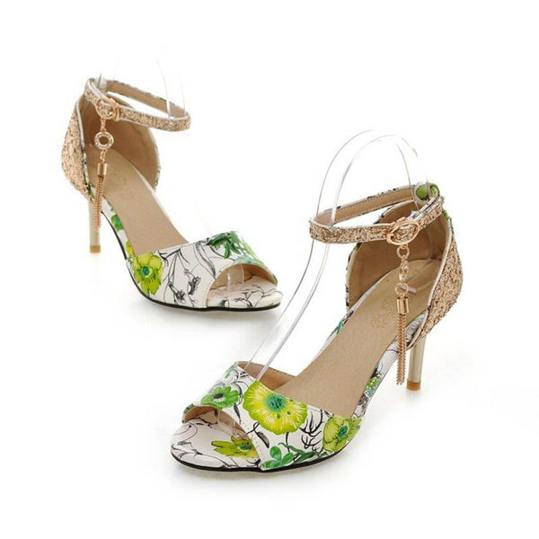 Sequin Peep Toe Line-Style Buckle Stiletto Heel Floral Low-Cut Upper Thin Shoes