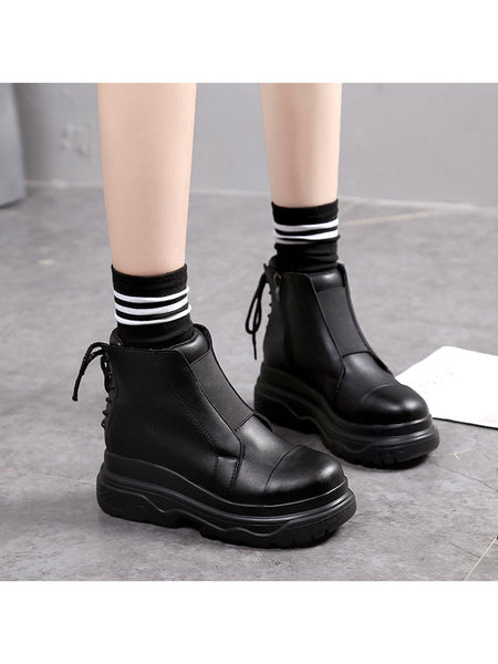 Women Casual Solid Color Warm Martin Boots