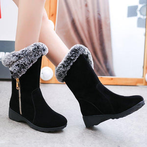 Women Winter Daily Flat Heel Suede Warm Snow Boots