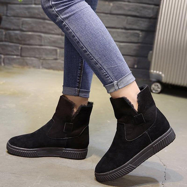 Winter Flocking Casual Comfort Flat Heel Short Boots