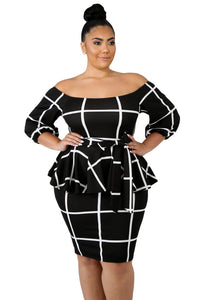 Black White Checked Plus Size Peplum Dress