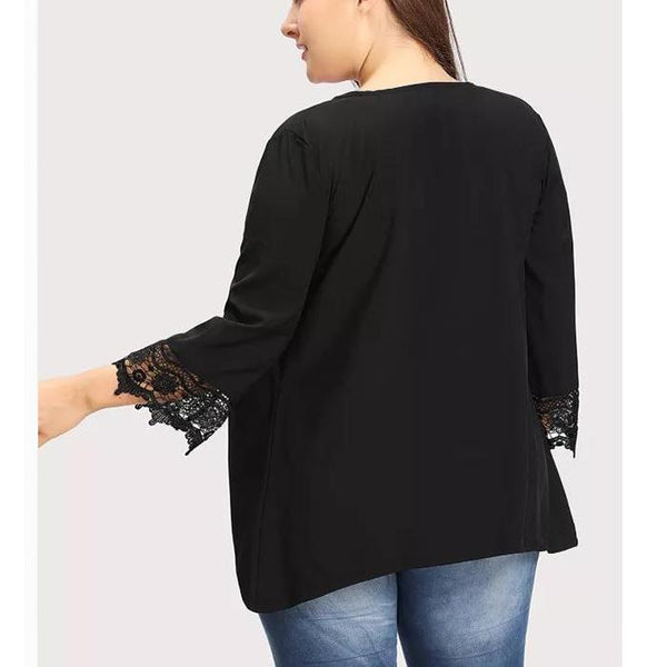 Plus-Size Lace Patchwork Nine-Point Sleeved Blouse Cardigan