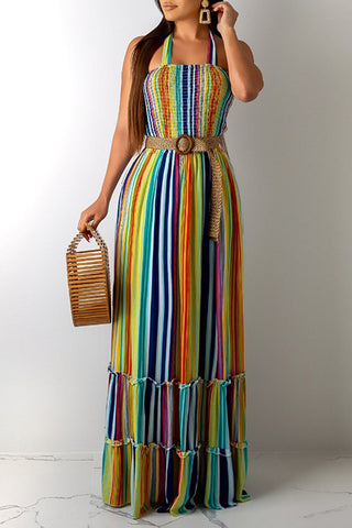 Rainbow Draped Hollow Out Back Maxi Dress