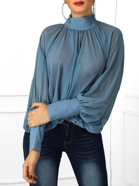 Batwing Sleeve Plain Long Sleeve Standard Blouse
