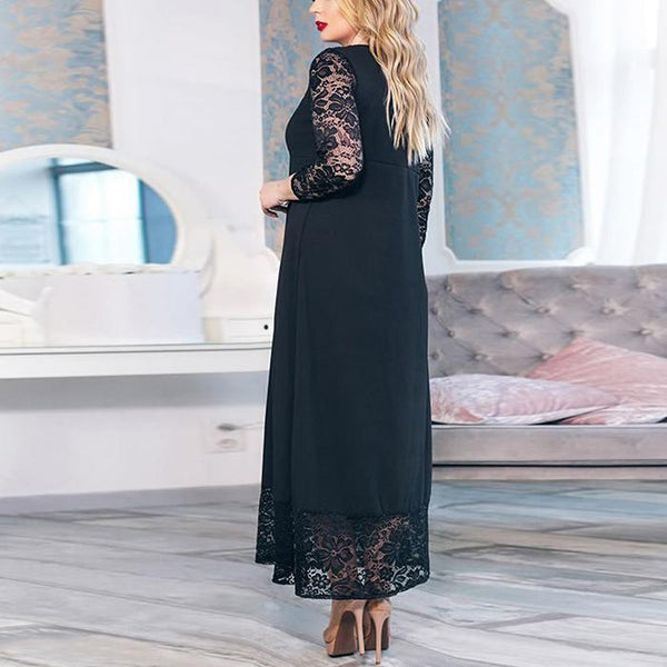 Plus-Size Sexy Lace Splicing Round Collars Long Sleeves Dress