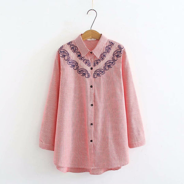 Flip-collar embroidered striped long-sleeved shirt