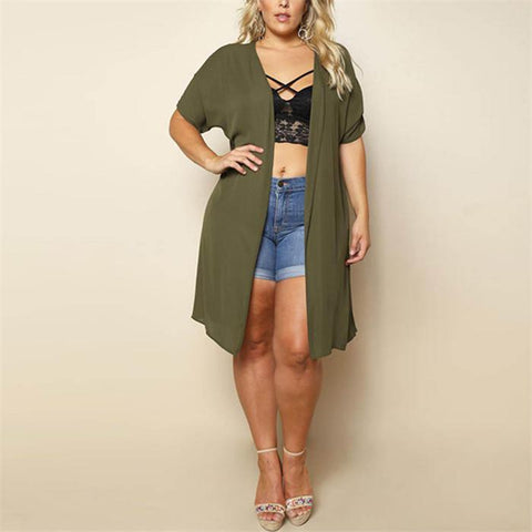 Plus-Size Fashion Pure Color Perspective Chiffon Cardigan