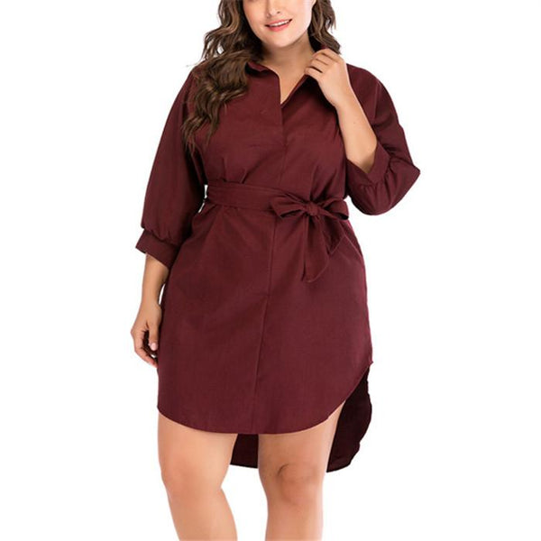 Plus-Size High-Waisted Pure Color Frenulum Dress