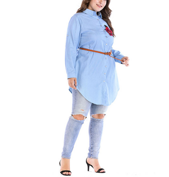 Plus-Size Embroidered Lapel Long Sleeves Dress