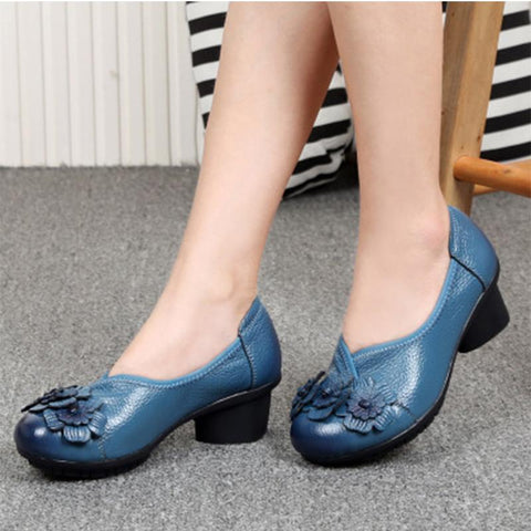 Middle heel retro ethnic style handmade leather non-slip soft women's shoes