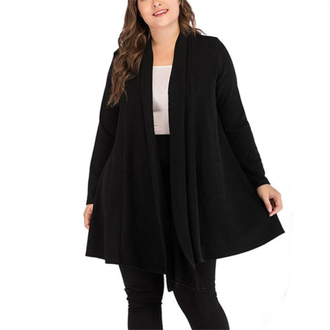 Plus-size pure color irregular hem cardigan