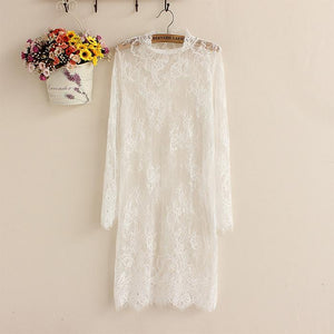 Plus-size sexy solid color hollow out perspective high collar long sleeves dress