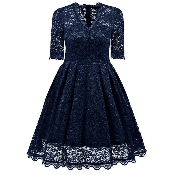 V Neck Sleeve Lace Hollow Sexy Dress