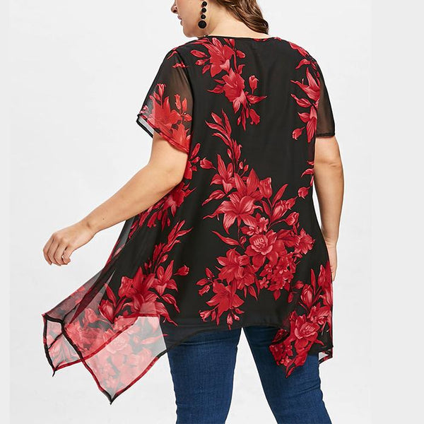 Plus-Size Fashionable Sexy Irregular Printing Shirt