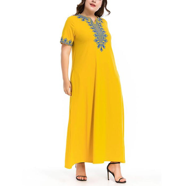 Plus-size short sleeve loose embroidery dresses