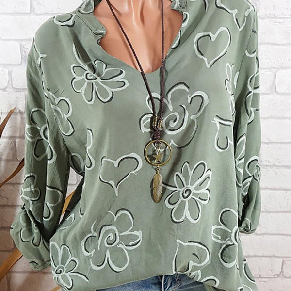 Long-Sleeved V-Collar Printed Loose Shirt