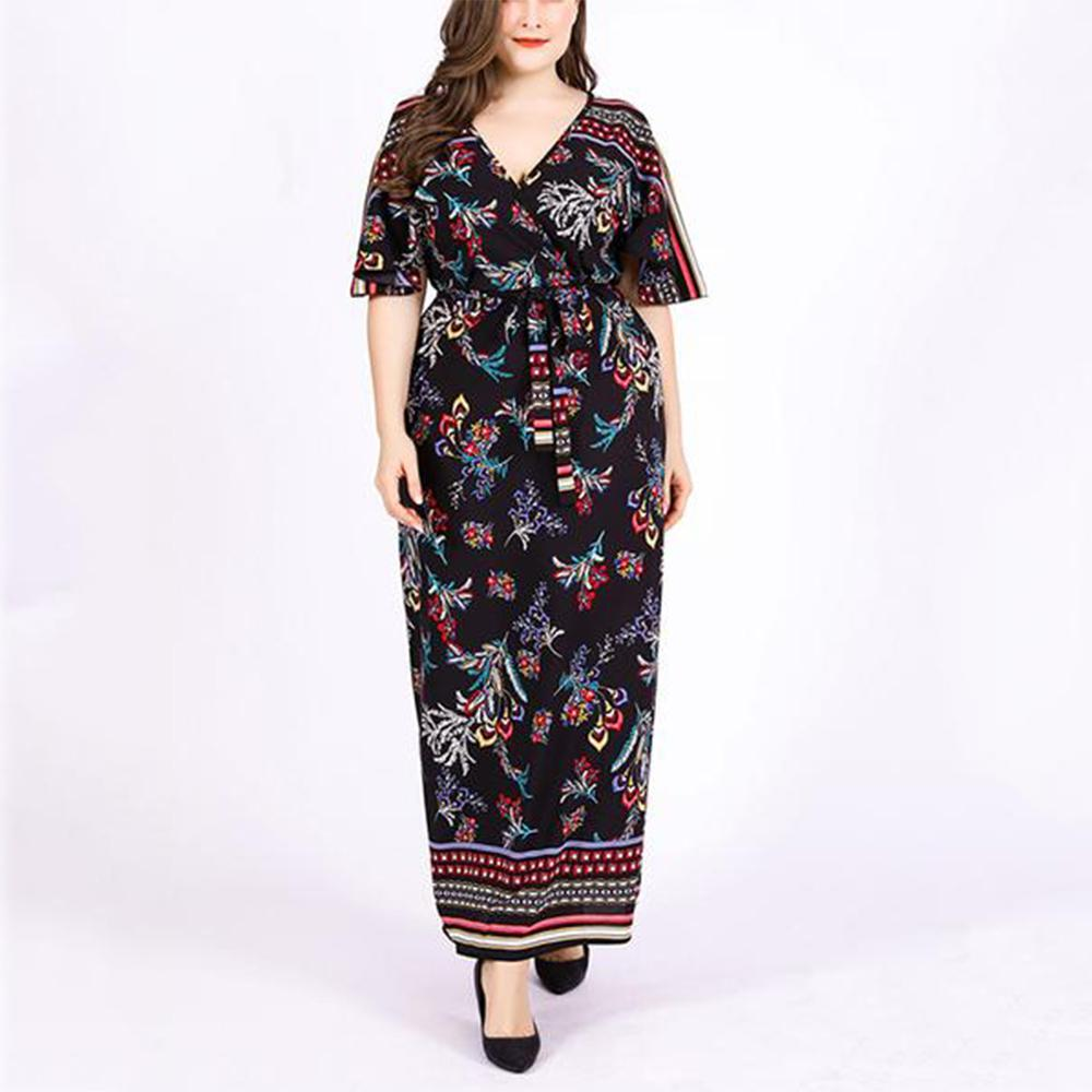 Plus-size v-neck short-sleeved vintage printed bohemian chiffon dress