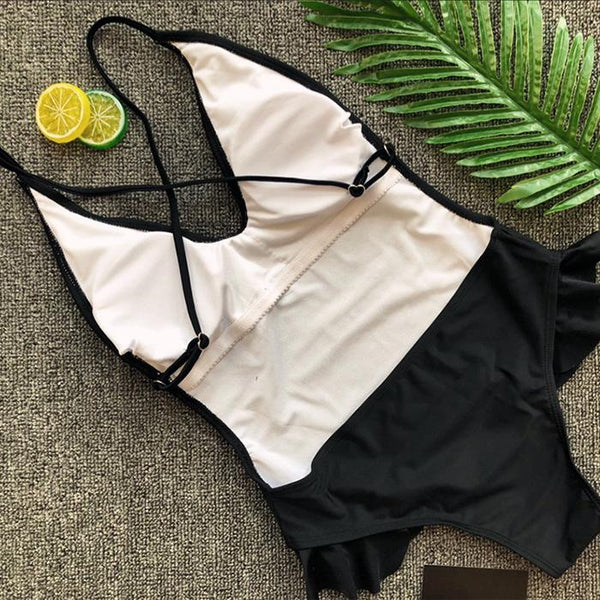Sexy Halter Ruffle Bikini One Piece Swimsuit
