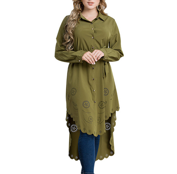 Plus-Size Fashion Pure Color Hollowing Out Shirt