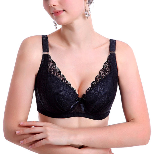 Sexy lace full cup thin section breathable super gathered side adjustable bra