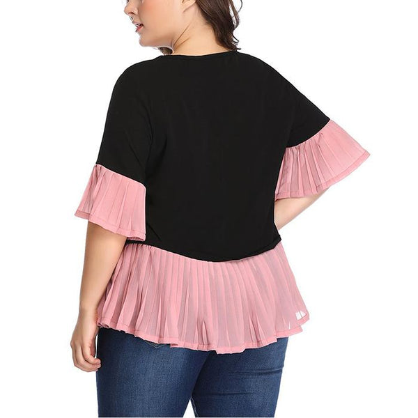Plus-Size Lace Contrasting Colorblock Patchwork Chiffon Pleated Shirt